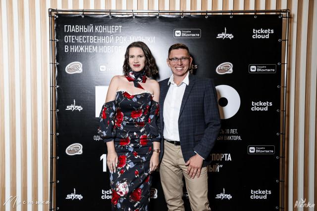 Виктор Загвоздин и  Анастасия Харченко на презентации концерта КИНО